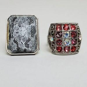 Rhinestones & Lace Oversized Adjustable Rings
